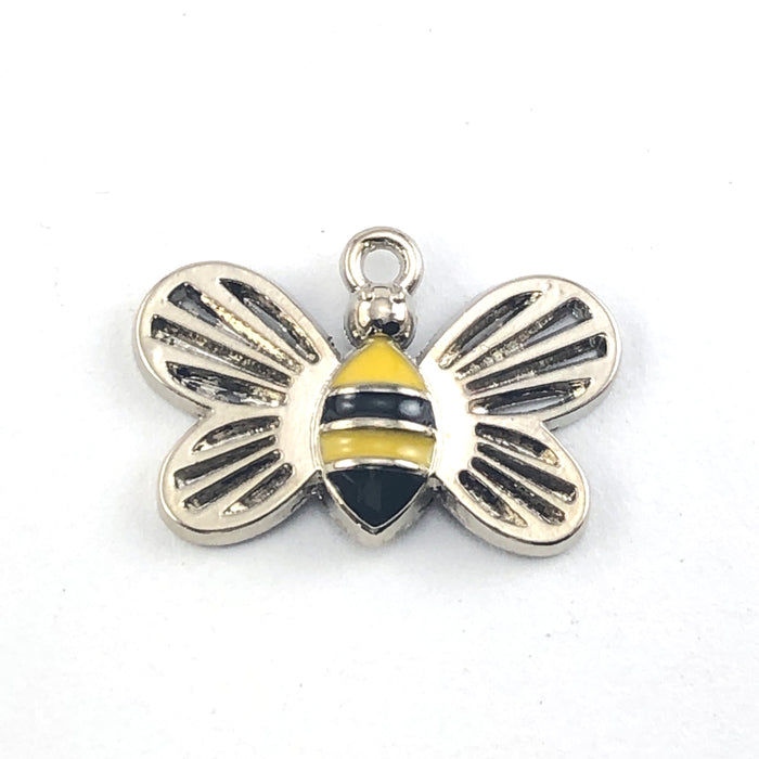 bee shaped charms that are silver, black and yellow