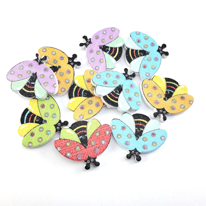 multi coloured buttons that look like bees
