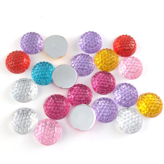 multi coloured round cabochons