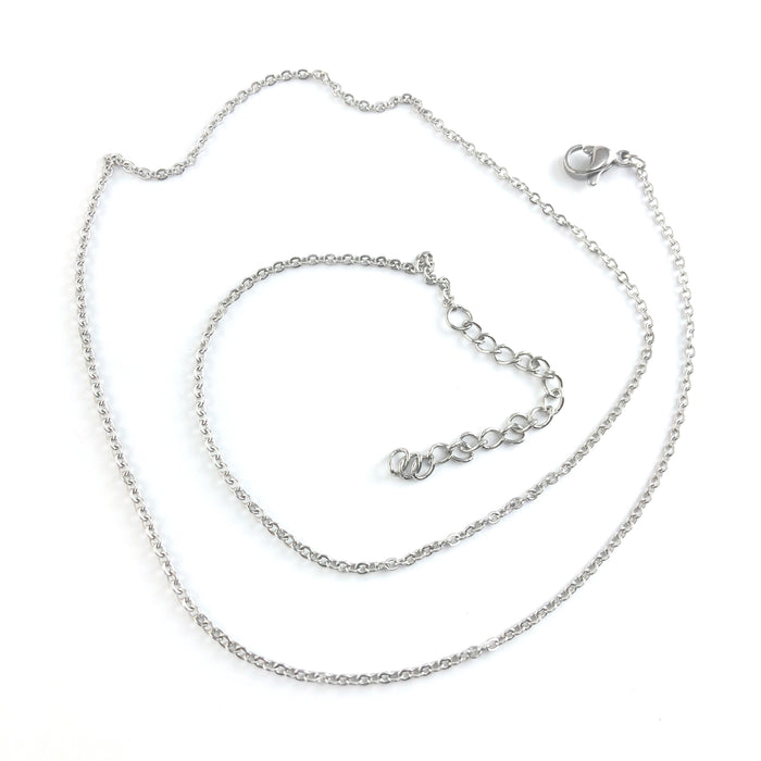 silver colour necklace chain