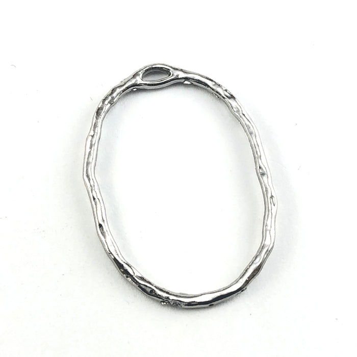 silver oval shaped open bezel pendant