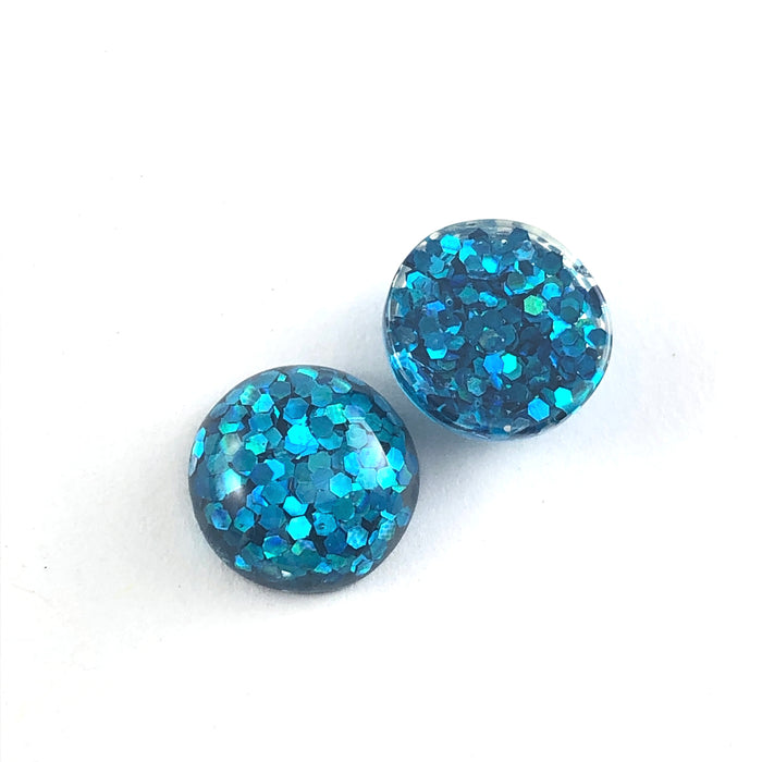 12mm Blue Sparkle Resin Cabochons - 10 Pack