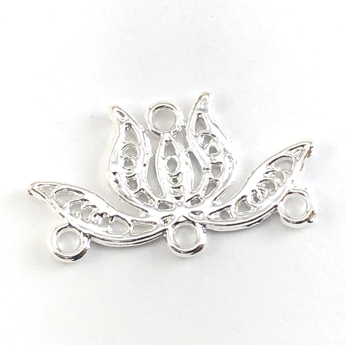 silver connector charms shaped llike lotus flowers