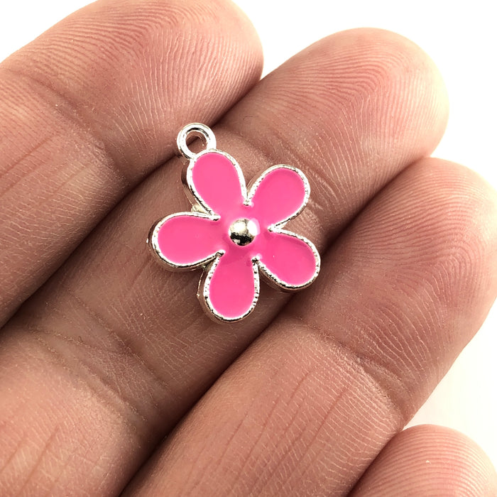 Enamel Pink Flower Jewelry Pendant Charms, 17mm - 5 pack