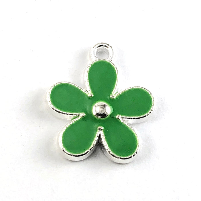 green and silver flower shaped jewerly charm