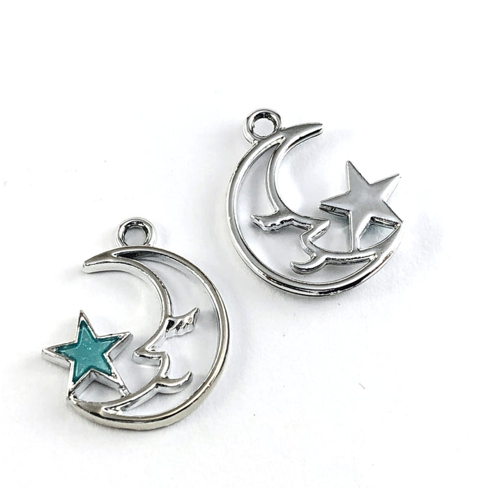 front and back of silver moon shaped jewerly charm with blue star attached