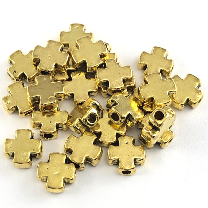 cross shaped gold jewerly beads