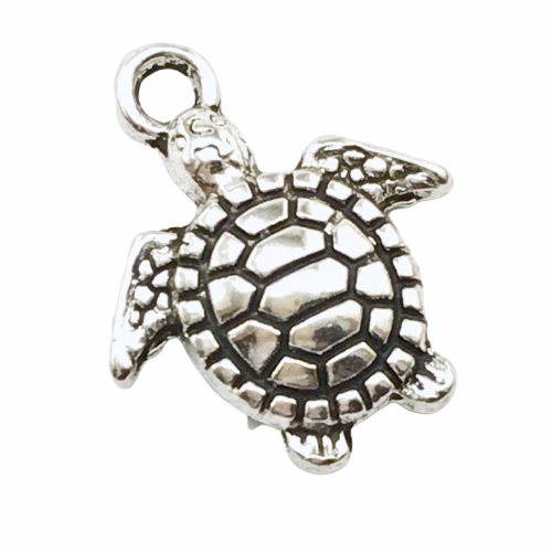 silver jewelry charm that looks like a turtle