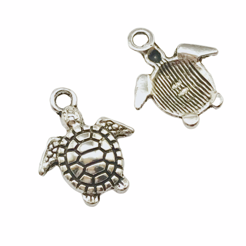 front and back of a silver charm that looks like a turtle