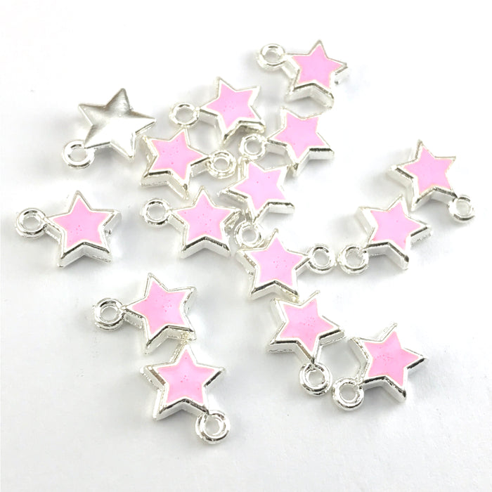 pink and silver colour star shaped jewerly charms