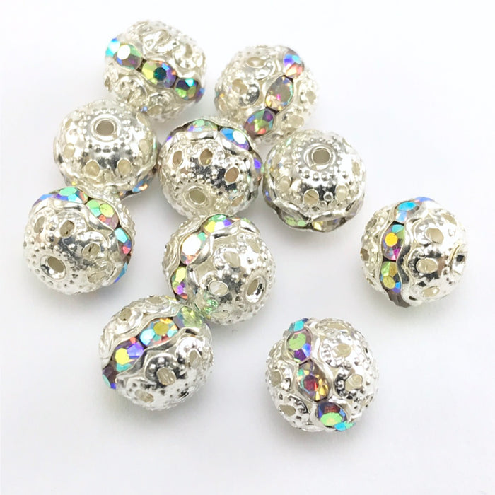 10 round silver beads with ab rhinestones