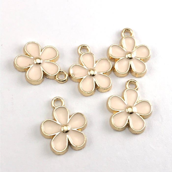 pink and gold flower shaped jewerly charms