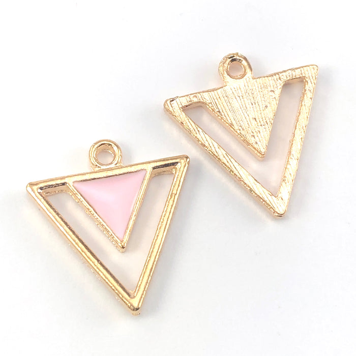 front and back of pink and gold triangle shaped jewerly charms