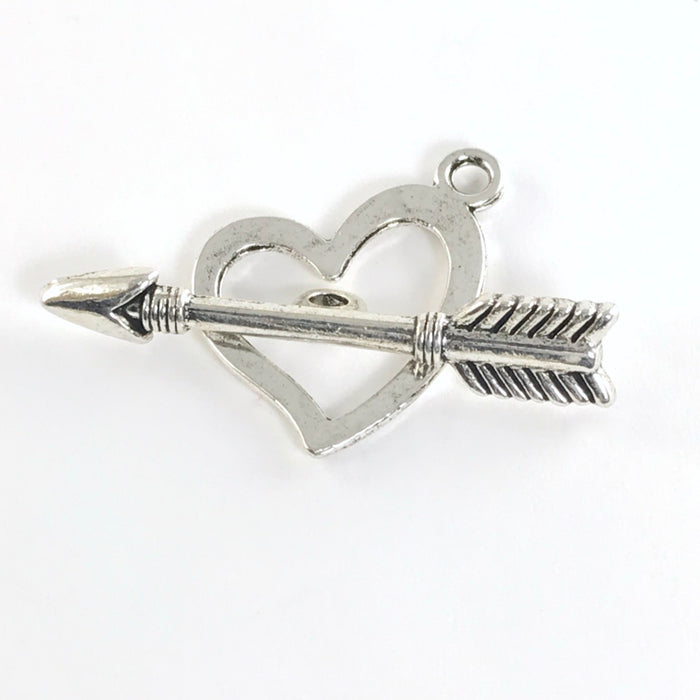 Antique Silver Heart and Arrow Toggle Clasps, 36mm - 6 Pack