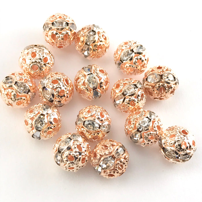 8mm Round Rose Gold Metal Beads With Rhinestones - 15 Pack