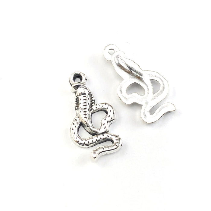 front and back of silver colour jewerly charms that look like snakes