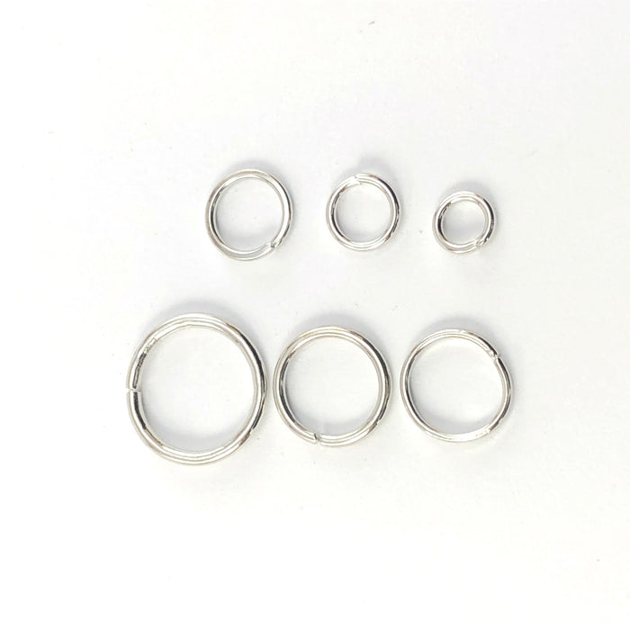 4mm to 10mm size silver colour open jump rings
