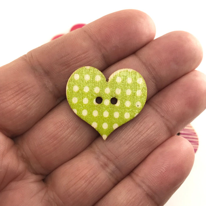 Retro Rustic Heart Wood Buttons, 25mm - 10 Pack