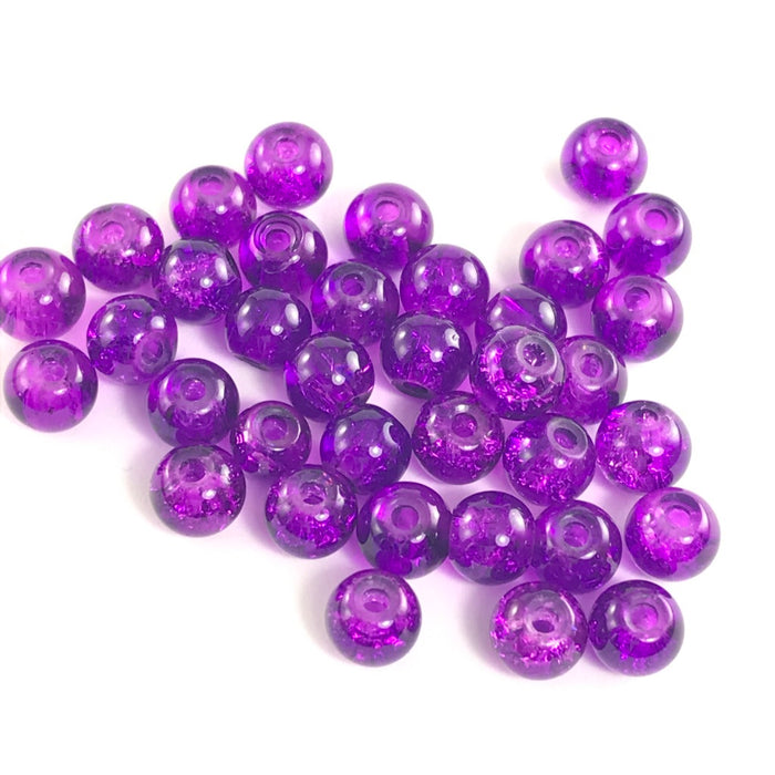 Purple Round Glass Crackle Beads, 6mm - 50 Pack