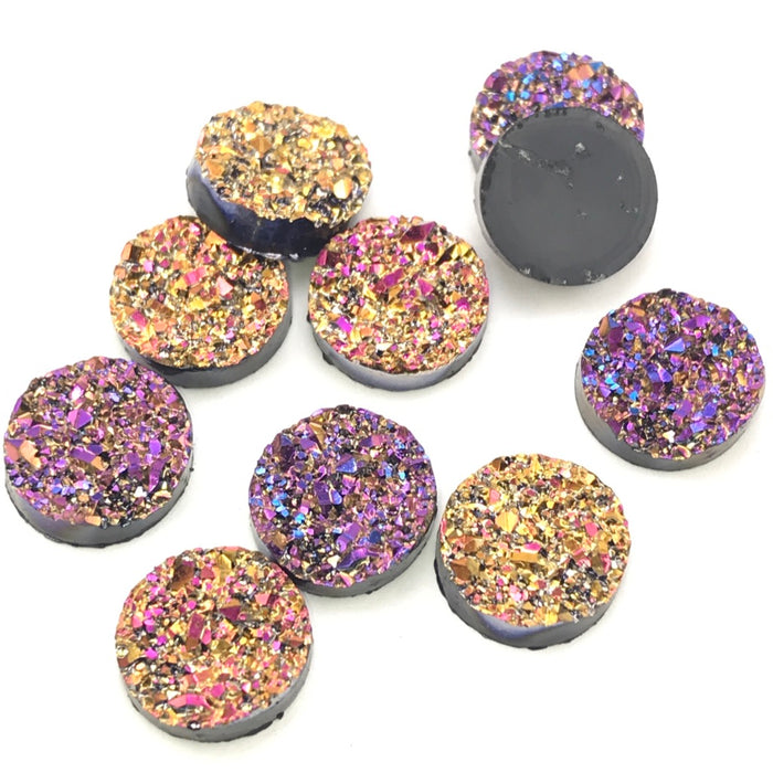 fuchia and gold colour sparkly cabochons