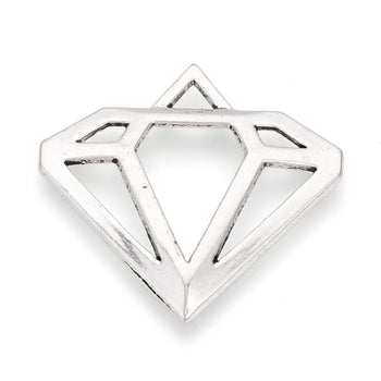 silver color diamond shaped pendant charms