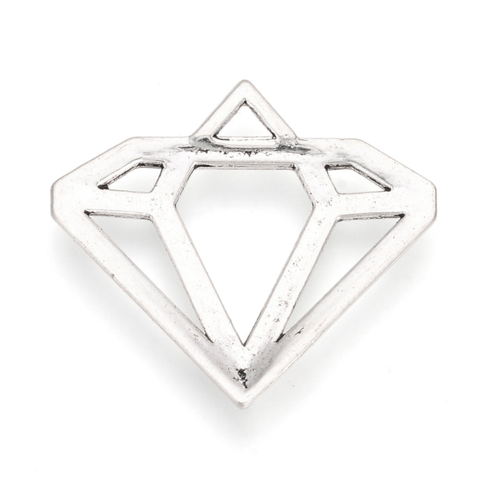Antique Silver Diamond Shape Pendant Charms, 28mm - 4 pack