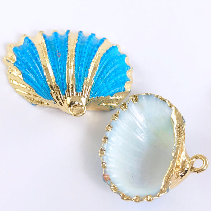 Blue and Gold Seashell Pendant Charms, 28mm - 3 Pack