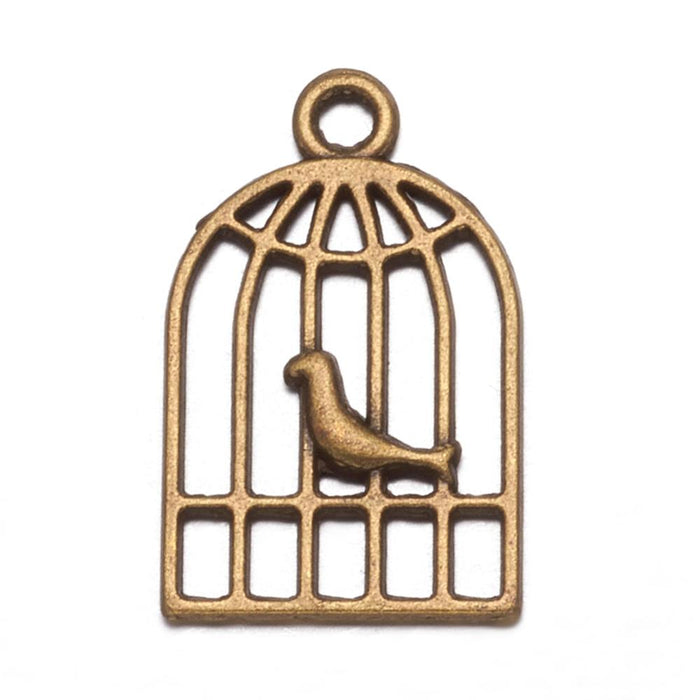 Bird In A Cage Pendant Charms, 19mm  - 10 pack