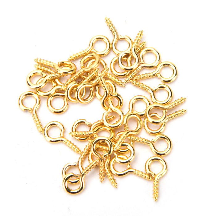 Gold Colour Eye Screw Bails 10x4mm - 100 pack