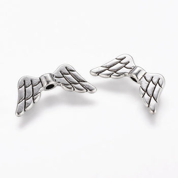 antique silver wing shaped jewelry beads
