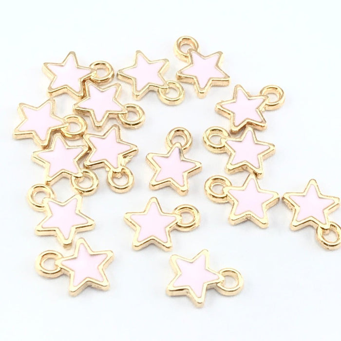pink and gold star shaped jewelry charms