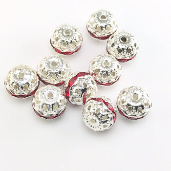 round silver beads with red rhinestones