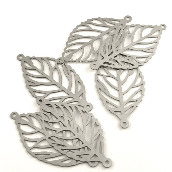 Stainless Steel Filigree Leaf Connectors, 30mm - 6 Pack