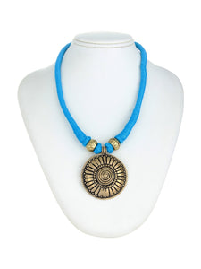BLUE BRASS NECKLACE