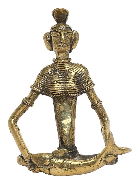 BRASS DECORATIVE WORKING LADY FIGURINE