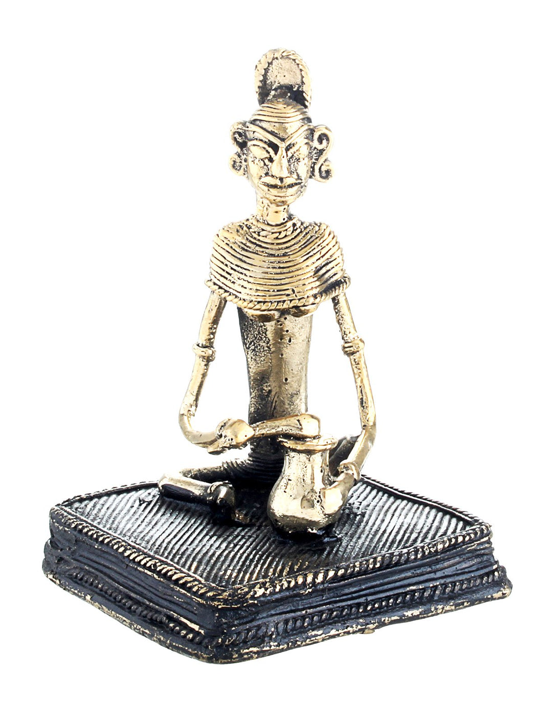 BRASS LADY SITTING WITH BASE – DHOKRA ART