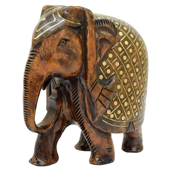 "RAJASTHANI TRIBAL HANDMADE BROWN "" ELEPHANT "" FIGURED WOODEN STATUE"