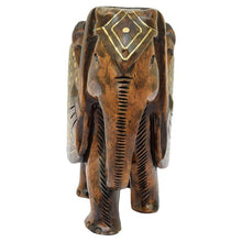 "Load image into Gallery viewer, RAJASTHANI TRIBAL HANDMADE BROWN "" ELEPHANT "" FIGURED WOODEN STATUE"