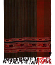 Load image into Gallery viewer, HANDWOVEN BROWN SHWAL SHEEP WOOL CHASM STRIPE : HP