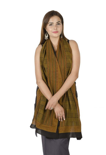 BROWN & BLACK FREE SIZE PRINTED COTTON STAWL