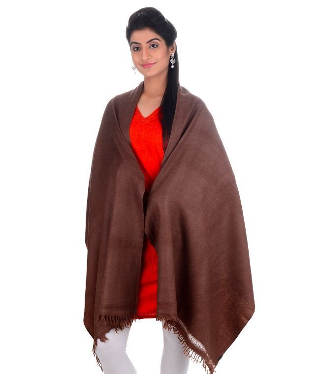 HANDWOVEN BROWN STAWL ANGORA PLAIN : HP