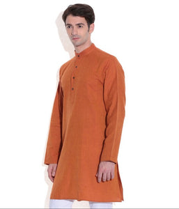 MEN LONG KURTA ORANGE HANDWOVEN COTTON FABRIC