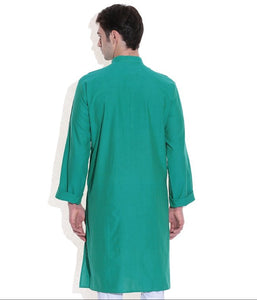 MEN LONG KURTA GREEN HANDWOVEN COTTON FABRIC