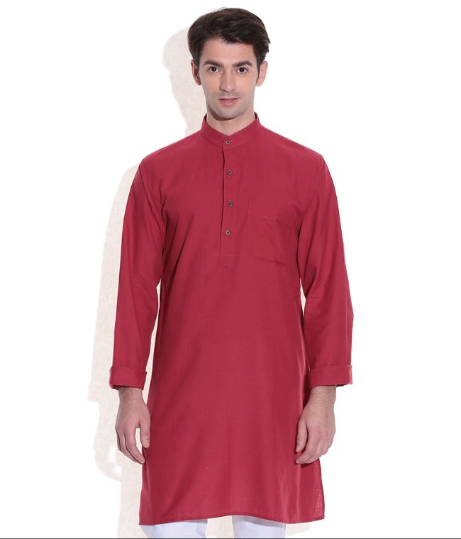 MEN LONG KURTA RED HANDWOVEN COTTON FABRIC