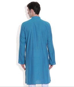 MEN LONG KURTA BLUE HANDWOVEN COTTON FABRIC