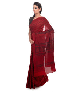HAND BLOCK BAGH PRINT COTTON RED SAREE