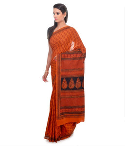 HAND BLOCK BAGH PRINT COTTON ORANGE CASUAL SAREE