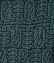 Load image into Gallery viewer, HAND BLOCK BAGH PRINT MAHESHWARI COTTON SILK DARK GREEN SAREE
