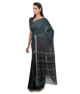 HAND BLOCK BAGH PRINT MAHESHWARI COTTON SILK DARK GREEN SAREE