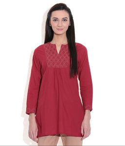 SHORT KURTI WOMEN MAROON HANDWOVEN COTTON FABRIC EMBROIDERED WORK